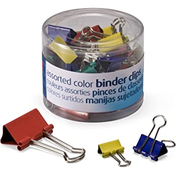 OfficemateOIC Binder Clips, Assorted Colors and Sizes, 30 Clips per Tub (31026)