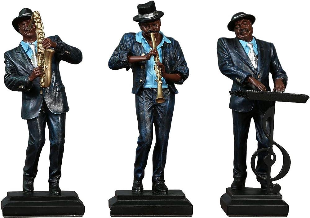 Yadlan retro bande, 3 statue in resina, jazz band 1588688