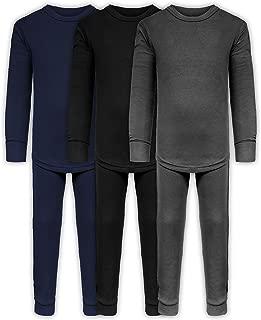 Boys Long John Ultra-Soft Cotton Stretch Base Layer Underwear Sets / 3 Long Sleeve Tops + 3 Long Pants - 6 Piece Mix & Match