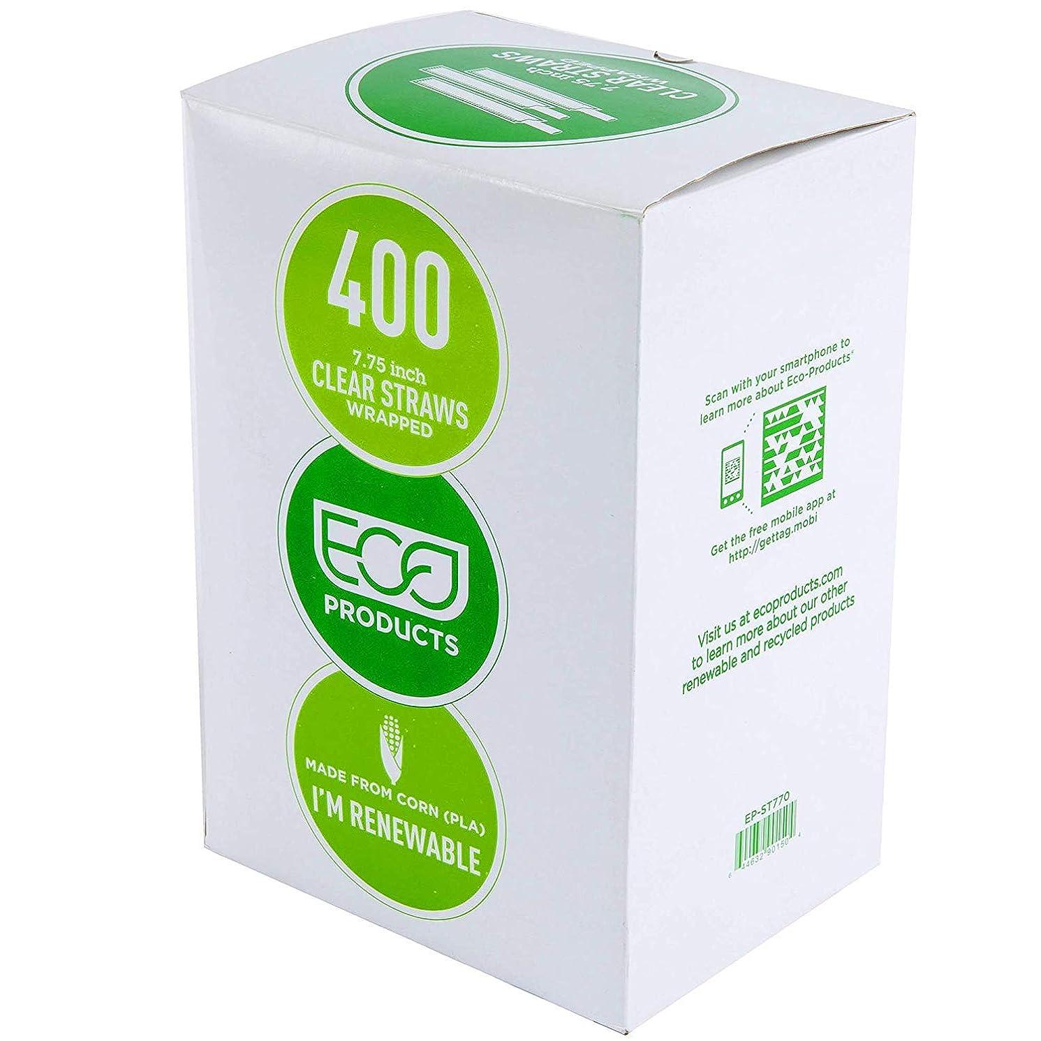 トーナメント松パワー生分解性ストロークリア グリーンストリップ付き 7 3/4インチ 包装なし 400個パック 100% エコフレンドリー 使い捨て生分解性