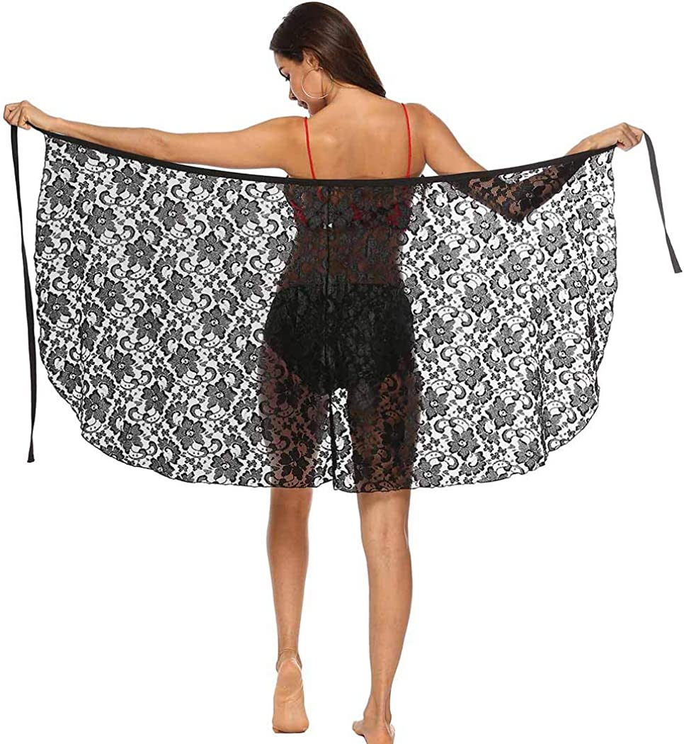 ELABEST Women Lace Mesh Sale Special Price Beach Skirt Max 59% OFF Sheer Black Saron with Strap
