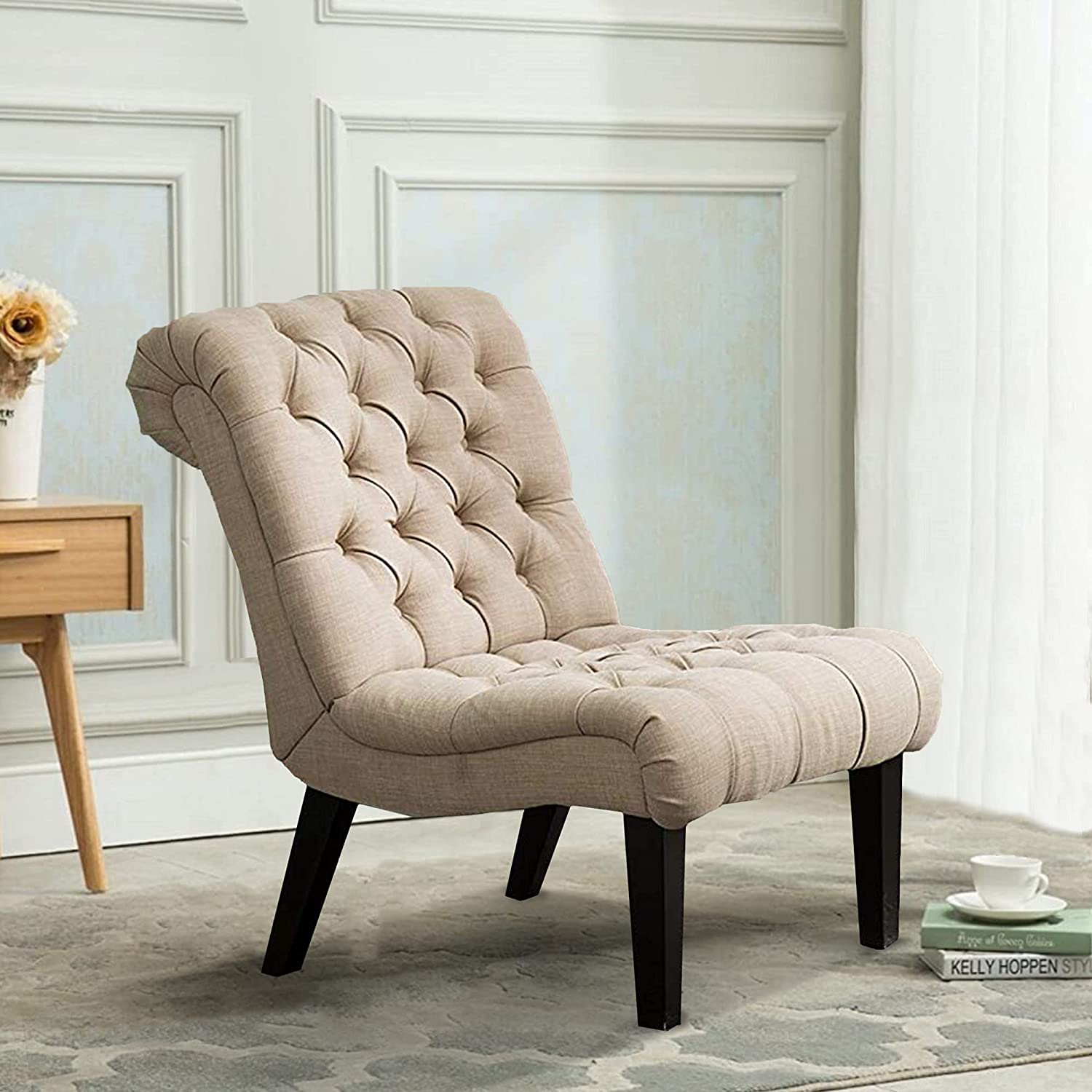 Max 64% OFF Armless Accent Chair Button Special price for a limited time Tufted Side Slipper for