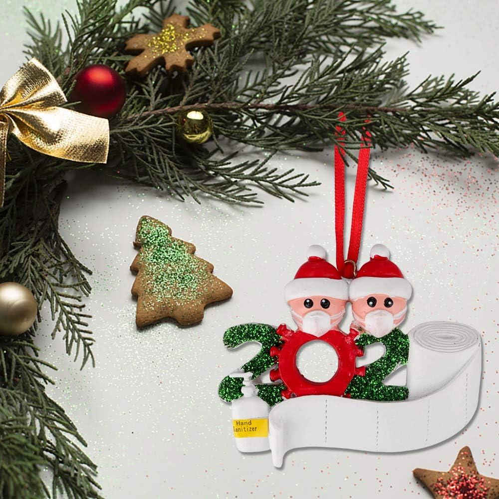 Eyscoco Weihnachtsschmuck,2020 Survived Family Christmas Ornament,3D dreidimensional Weihnachtsschmuck,DIY Name Gru/ß Dekoration Schneemann Anh/änger mit Maske F/ür Weihnachtsbaum Deko Family of 2