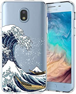Unov Case Compatible with Galaxy J7 2018 Clear with Design Slim Protective Soft TPU Bumper Embossed Pattern Cover for Galaxy J7 Crown J7 Refine J7 Star J7 V J7V 2nd Gen J7 Aero J737V Great Wave