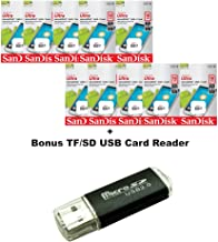 10 Pack - SanDisk Ultra 16GB UHS-I Class 10 MicroSDHC Memory Card Up to 48mb/s SDSQUNB-016G LOT of 10 with TF USB Card Reader