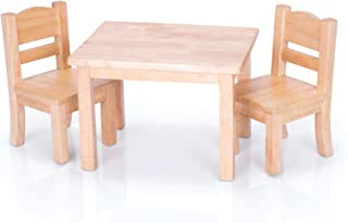 Guidecraft Natural Wooden Doll Table and Chairs Set - Fits 18