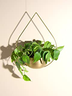 "Best Home Fashion Semi-Circle Teardrop Hanging Planter - Brass - 6.3"" Dia. x 11.6"" H"