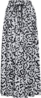 Womens Leopard Print Long Drawstring Pleated High Waisted Bohemian Skirt DIY Casual Solid Skirts