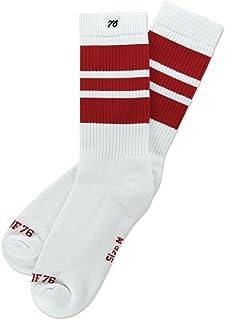 Los Cherry Cherrys | Calcetines retro de rayas de alto medio | Blanco, rayas rojas | calcetines unisex estilizados entubados