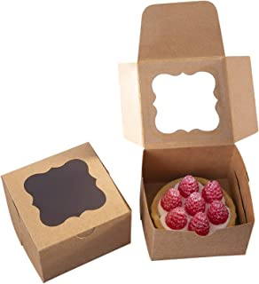 25 Pack Brown Bakery Box with Window 4x4x2.5 inch Eco-Friendly Paper Board Cardboard Gift Packaging Boxes for Pastries, Cookies, Small Cakes, Pie, Cupcakes (Brown, 25)