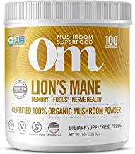 Om Organic Mushroom Nutrition Lion's Mane: Memory, Focus, Nerve Health, 100 servings, 7.14 Ounce, 200 Gram