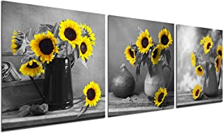 Sunflower Decor Wall Art Prints - Floral Vase With Flowers Painting Bedroom Black White Poster Bouquet Home Office Modern Decoration Canvas Pictures for Living Room Kitchen Artwork Frameless Set of 3