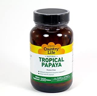 Country Life Natural Tropical Papaya - 200 Chewables - Plant-Based Digest Enzymes