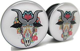 Brand NewPair Cow Sugar Skull Ear Plugs - Acrylic Screw-On - 10 Sizes
