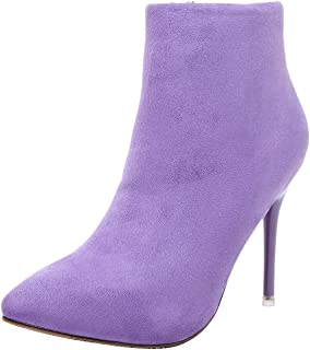 Women's Pointed-Toe Stiletto Zip Suede Ankle Boots (Color : Purple, Size : 3 UK)