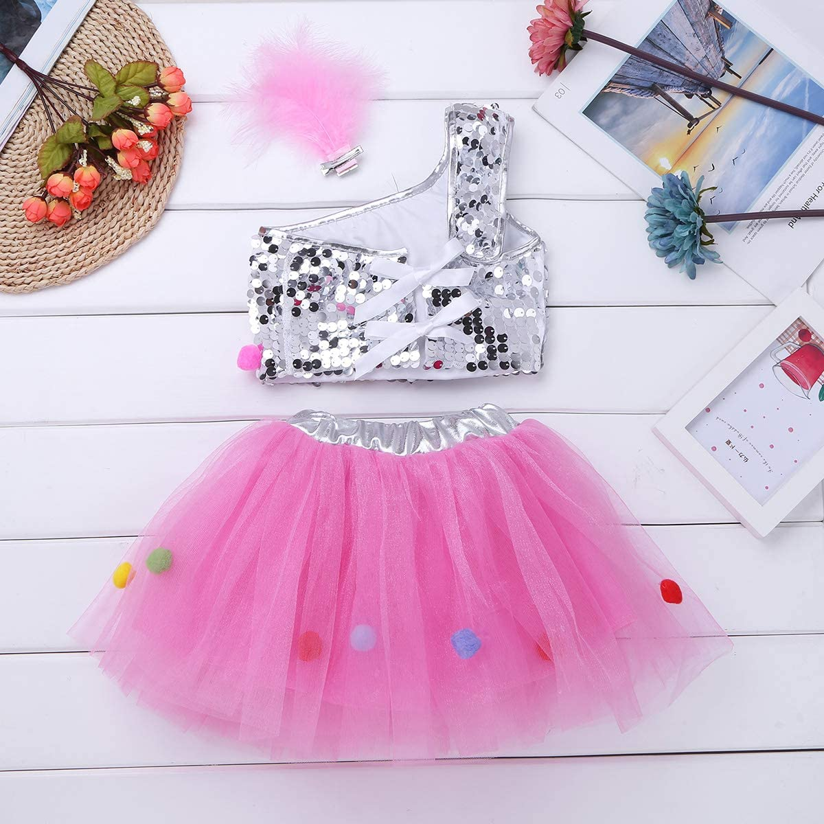vastwit Toddler Kids Girls Sequined Tutu Dress Sleeveless Colorful Frock Costume and Hair Hoop for Dance