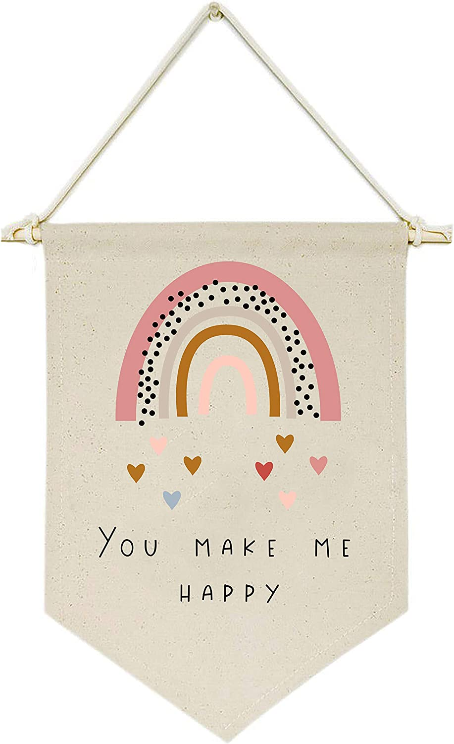 You Make Me Happy Rainbow Heart Luxury Selling goods Hanging Banner Wall Flag -Canvas