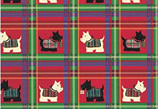 Scottish Terrier Rolled Christmas Plaid Gift Wrap Paper