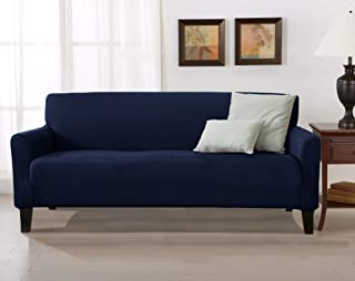 Solid Stretch Sofa Slipcover. 1-Piece Strapless Furniture Covers for Living Room with Twill Fabric, Elastic Bottom. (Navy - Solid)