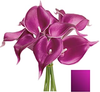 Angel Isabella 10pc Set of Real Touch Calla Lily-Keepsake Artificial Calla Lily with Small Bloom Perfect for Making Bouquet, Boutonniere,Corsage.Quality Keepsake Artificial Flower (Fuchsia Purple)