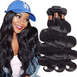 BLACKMOON HAIR Indian Hair Body Wave 3 Bundles 24 24 24Inch Indian Body Wave Indian Virgin Hair Weaves Human Hair Extensions Natural Black Color