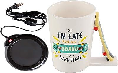 "Home-X Mug Warmer, Desktop Heated Coffee & Tea - Candle & Wax Warmer (Black) and Novelty Coffee Mug With Skateboard Handle for Office or Home Kitchen 6.9 x 6.1 x 5.1"""