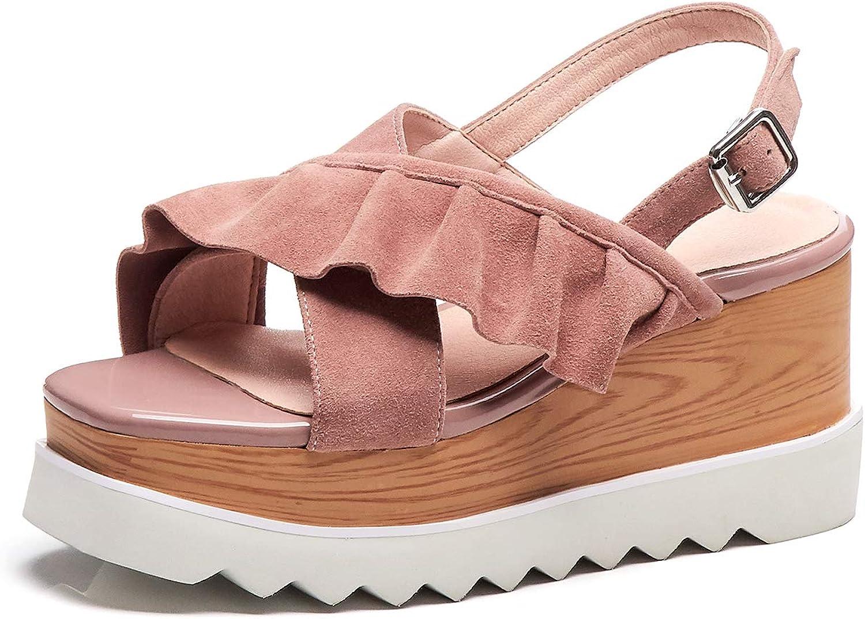 Kaloosh Women's Sweet Buckle Criss Cross Strap Wedge Sandals Ladies Party Dress shoes