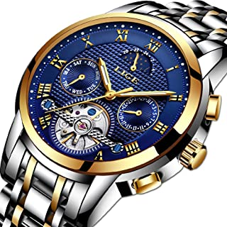 Mens Watches,LIGE Stainless Steel Waterproof Automatic Mechanical Watch Moon Phase Gents Fashion Casual Skeleton Tourbillon Wrist Watch Gold Blue