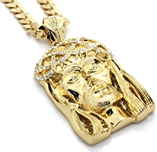 Mens Gold Tone Large Crowned Jesus Pendant with 30