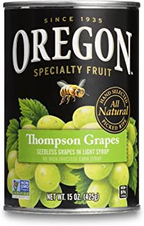 Oregon Fruit Seedless Thompson Grapes in Light Syrup, 15-Ounce Cans (Pack of 8)