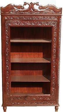 Shilpi Handicrafts Sheesham Wood Hand Carved Cabinet/Wardrobe/Showcase Without Glass