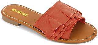 Women Shoes Suede Ruffle Flat Sandals Comfort Slip On Slides