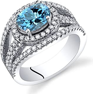 Swiss Blue Topaz Lateral Halo Ring Sterling Silver 1.50 Carats Sizes 5 to 9