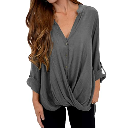 VONDA Damen Chiffon Langarm Bluse Oberteile Elegant Lose Pullover Top Shirts a560932074