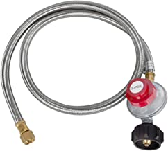 GasSaf 5 Feet Stainless Steel Braided 20 PSI Adjustable Propane Regulator Hose with POL Type,Gas Grill LP Regulator for Burner, Turkey Fryer, Forge, Smoker and More.