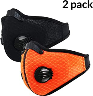 N95 Dust Mask Respirator, Dustproof Face Mask, 2 Pack Activate Carbon Anti Dust Pollution Pollen Allergy Filter Mouth Mask, Perfect for Woodworking Mowing Saw Dust Outdoor Work,Black Orange