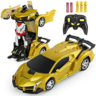Remote Control Car Transforming Robot, BIFYTON Transform Car Robot with One Button Transformation and 360 Degree Rotating Drifting, RC Cars Robot Toys for Kids Boys and Girls