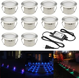 FVTLED Low Voltage 10pcs Multi-color RGB LED Deck Lights Kit 1-3/4