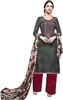 Partywear Maslin Silk Embroidered Salwar Kameez Suit Womens Ready to Wear Indian Pakistani Dress