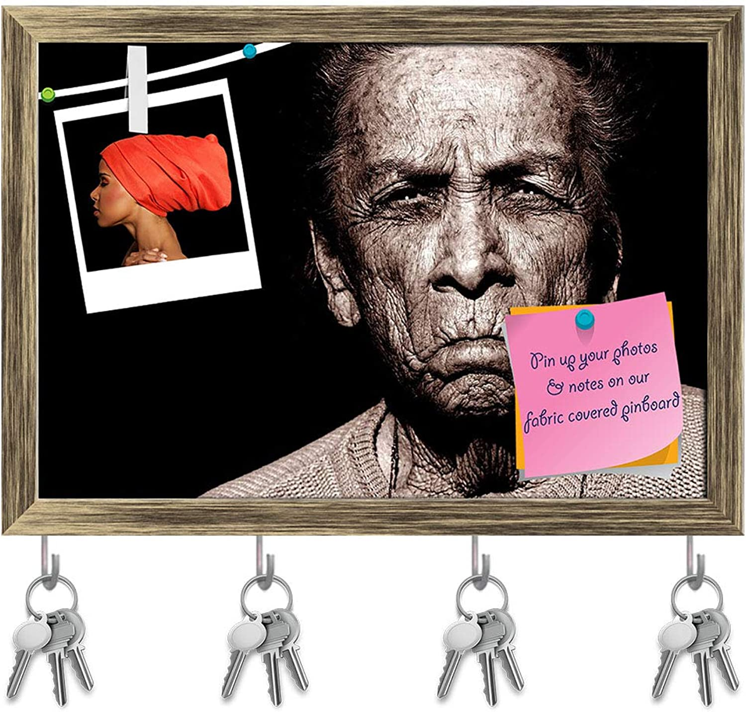 Artzfolio Portrait of 97 Year Old Native American Woman Key Holder Hooks   Notice Pin Board   Antique golden Frame 14.2 X 10Inch