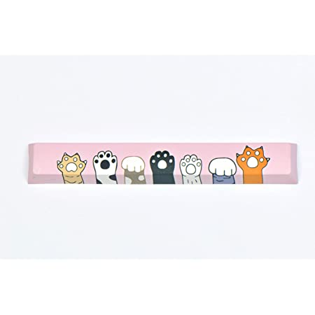 6.25X Cat Paws Claw Spacebar Keycap Cute Pink Painting Colorful Keycaps Cherry Profile Key Cap for Cherry MX Mechanical Gaming Keyboard
