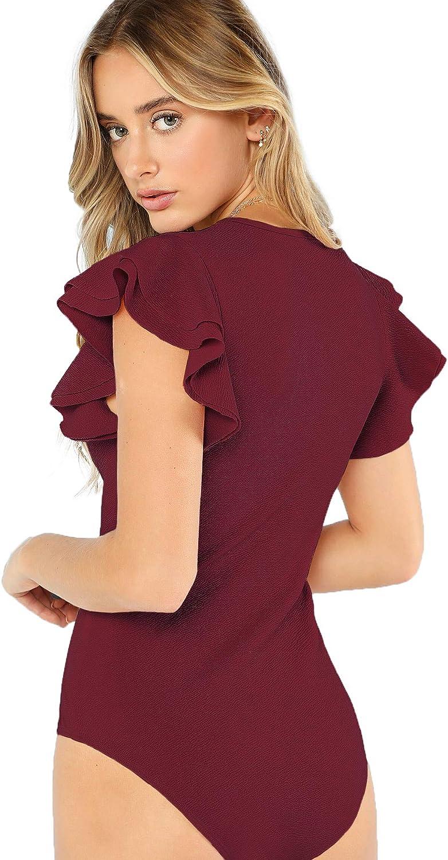 Romwe Women's Round Neck Layered Ruffle Short Sleeve Bodysuit