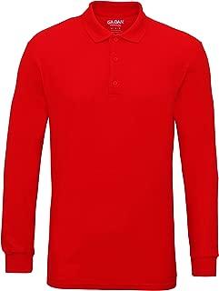 Mens Long Sleeve Double Pique Cotton Polo Shirt