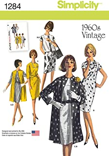 SIMPLICITY US1284R5 Misses' 1960's Vintage Dress Coat and Vest Sewing Template