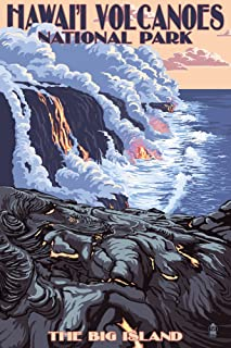 The Big Island, Hawaii - Lava Flow Scene (9x12 Art Print, Wall Decor Travel Poster)