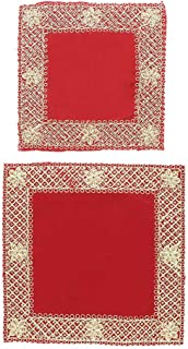 """Red Velvet Pooja Mat Aasan Set of 2 Decorative Puja Cloth Item for Multipurpose Decorations (Large 10""""X10"""") Small (5""""X5"""")"""
