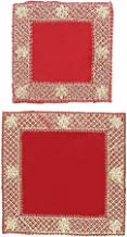 "Red Velvet Pooja Mat Aasan Set of 2 Decorative Puja Cloth Item for Multipurpose Decorations (Large 10""X10"") Small (5""X5"")"