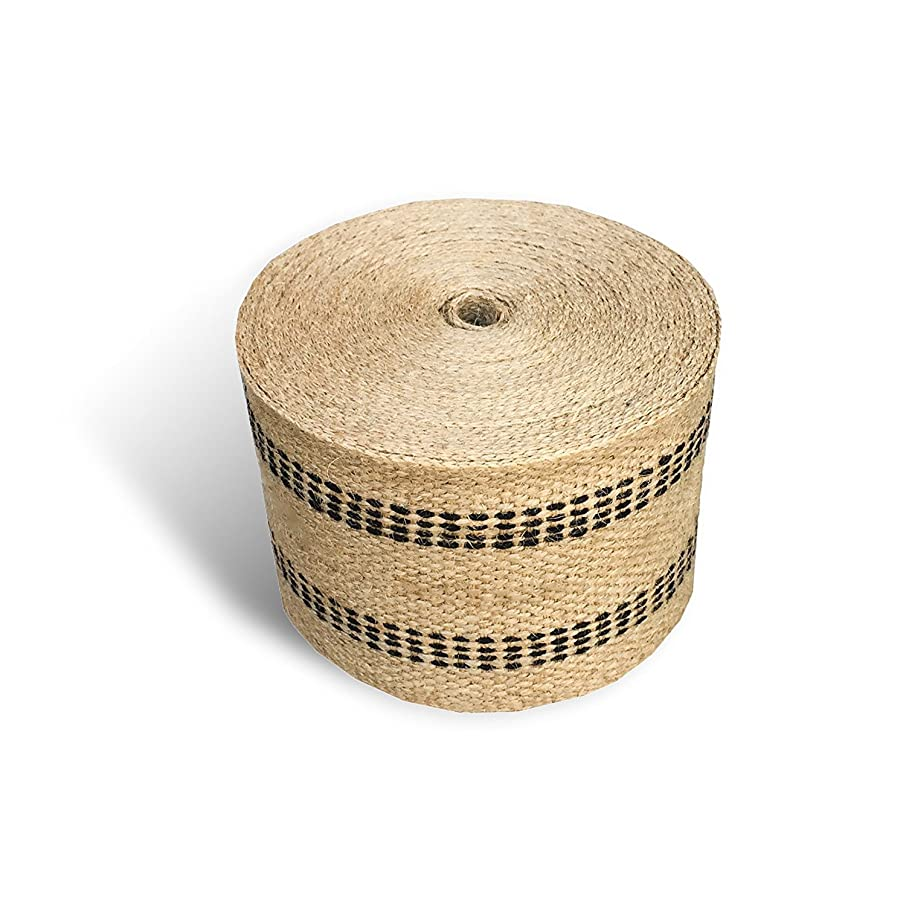 HDC Natural Craft Or Upholstery Jute Webbing with Black Highlight Stripes in Variable Lengths (8 Yards)