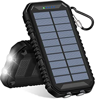 Solar Charger 15000mAh, SOARAISE Power Bank with 2.4A Outputs Waterproof Phone Charger for Smart Phones and Outdoor Camping