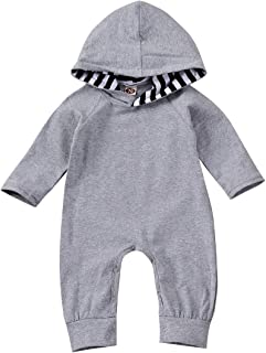 JBEELATE Newborn Baby Boy Girl Jumpsuit Toddler One Piece Long Sleeve Hoodie Bodysuit Solid Color Romper